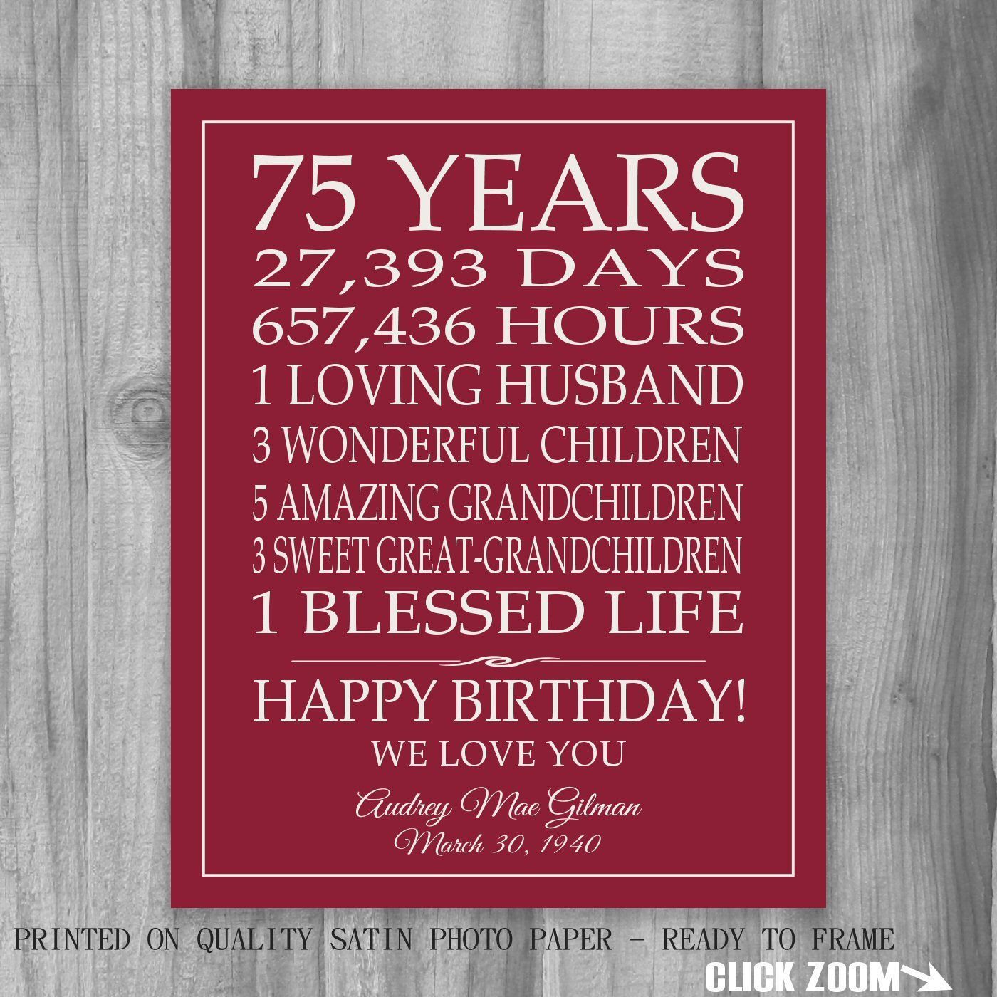 75th Birthday Gifts BIRTHDAY GIFT Sign Print Personalized Art Mom Dad Grandma