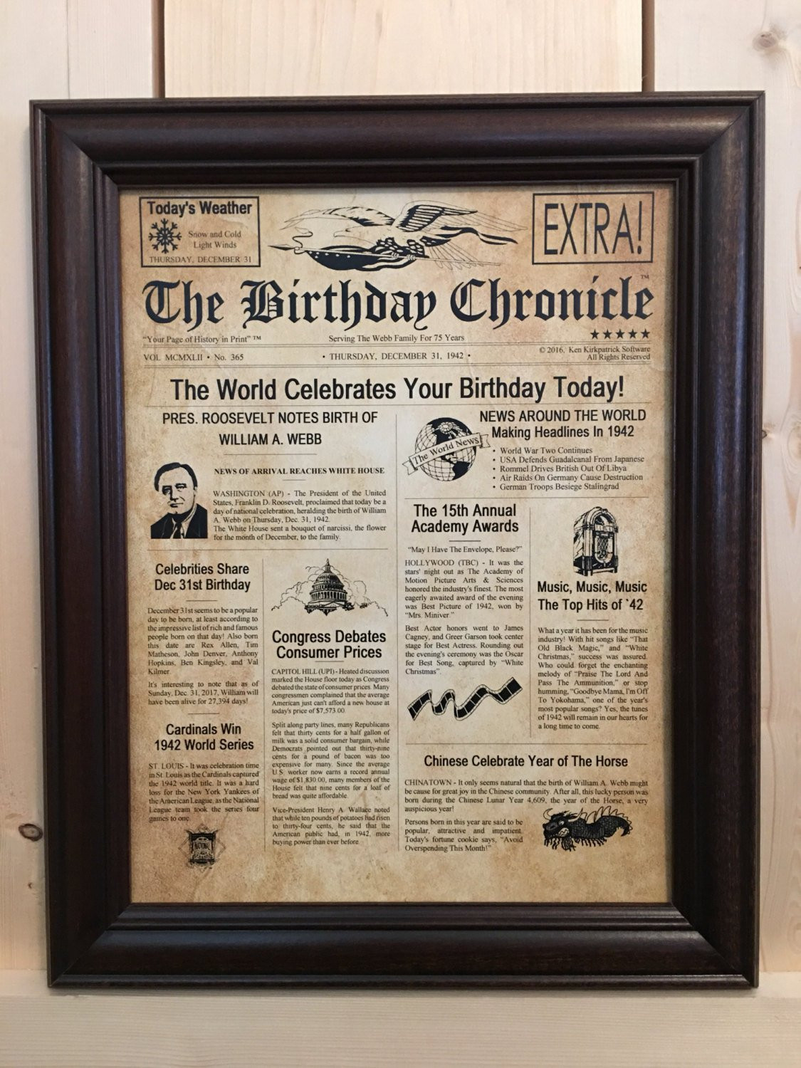 75th Birthday Gifts  75th Birthday 75th Birthday Gifts Personalized Framed