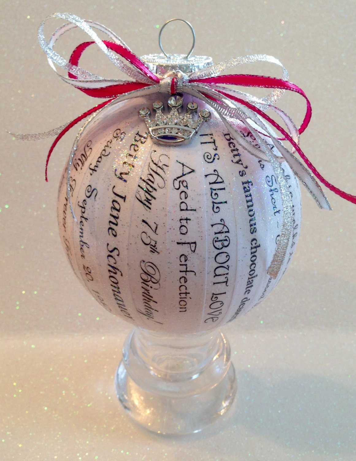 75th Birthday Gifts  75th Birthday Gift Unique Personalized Memory Ornament for