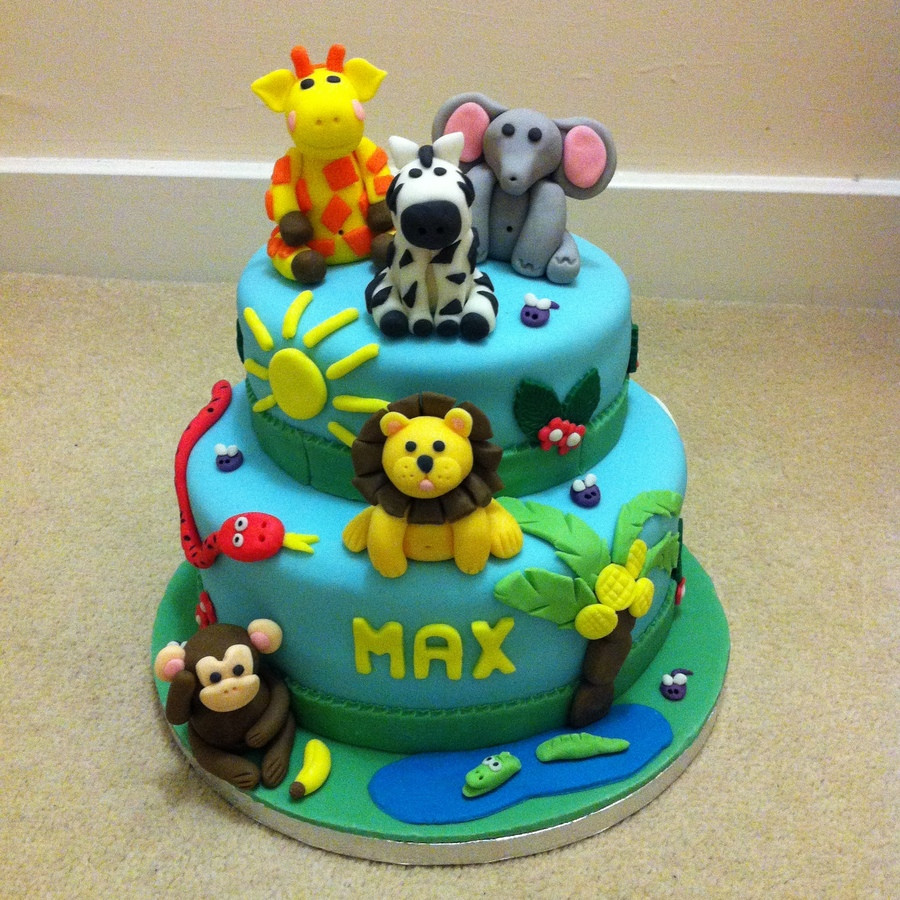 Animals Birthday Cake  Two Tier Jungle Animals Birthday Cake CakeCentral
