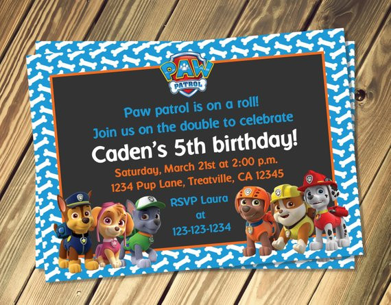 Walmart Photo Birthday Invitations  Paw Patrol Inspired Birthday Invitation With Option