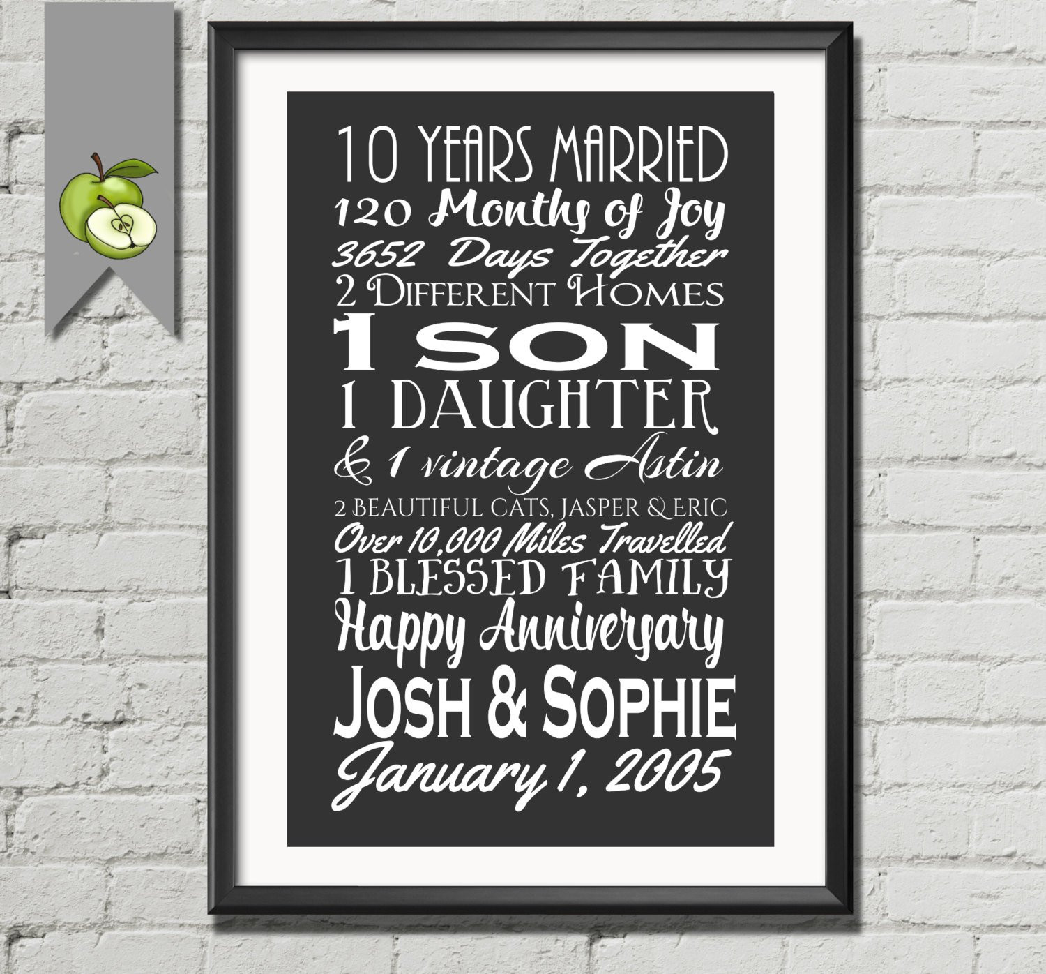 Best ideas about 10 Year Wedding Anniversary Gift Ideas . Save or Pin 10th anniversary t tenth anniversary t wife husband Now.