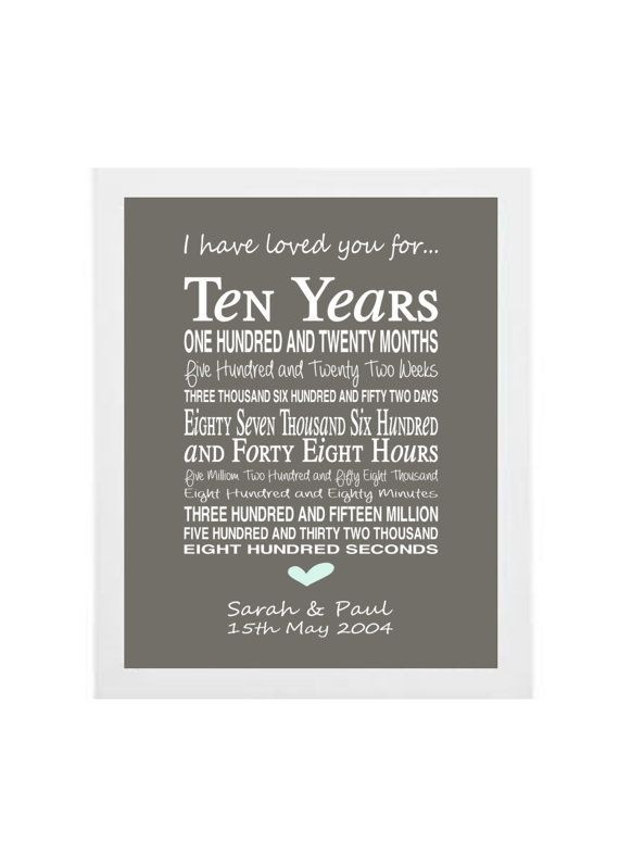 Best ideas about 10 Year Wedding Anniversary Gift Ideas . Save or Pin Best 25 10th anniversary ts ideas on Pinterest Now.