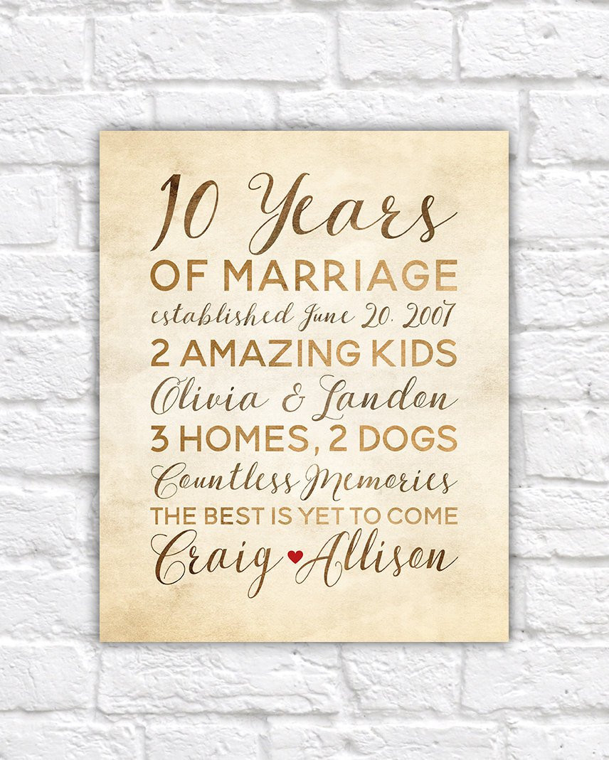 Best ideas about 10 Year Wedding Anniversary Gift Ideas . Save or Pin 10 Year Anniversary Gift Wedding Anniversary Decor Rustic Now.