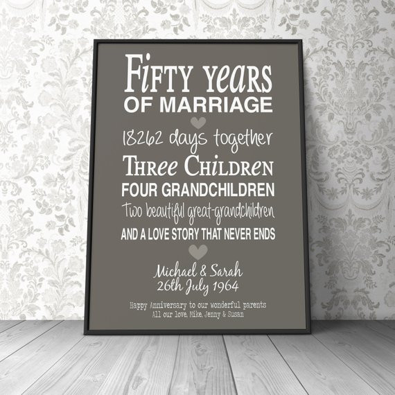Best ideas about 10Th Anniversary Gift Ideas For Couples . Save or Pin 50th anniversary t personalised by PinkMilkshakeDesigns Now.