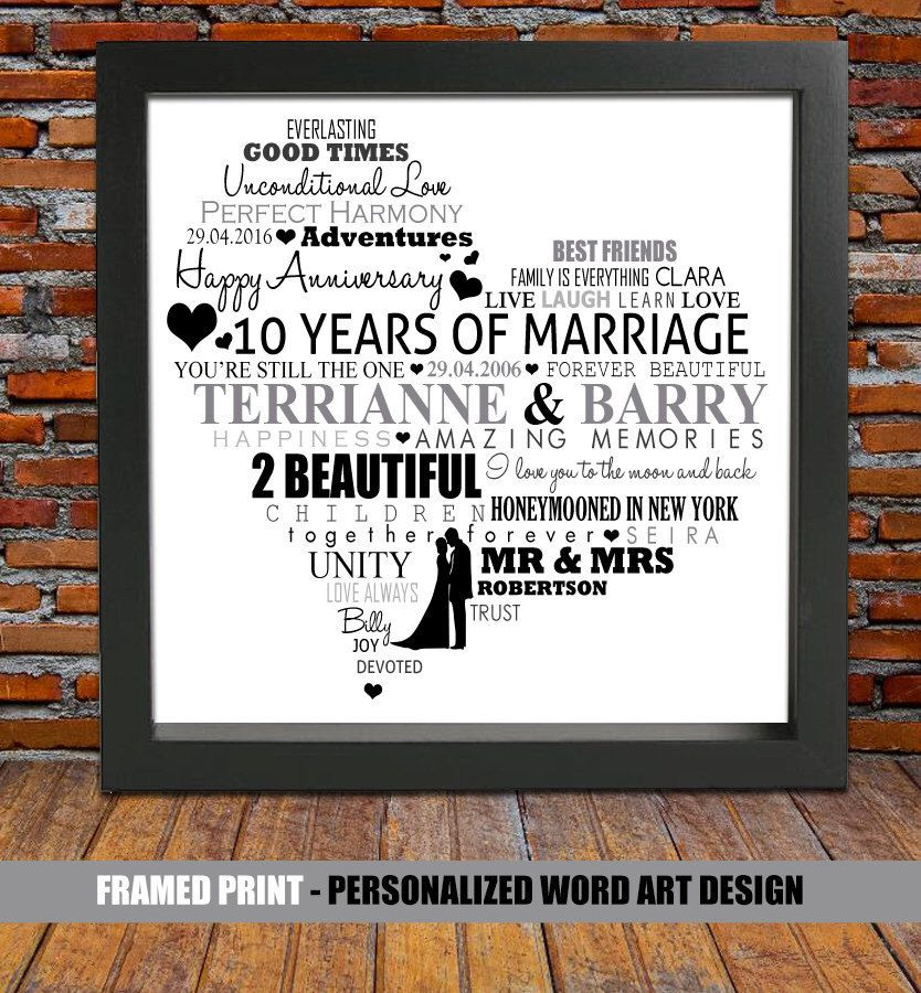 Best ideas about 10Th Anniversary Gift Ideas For Couples . Save or Pin Personalized 10th wedding anniversary 10 year wedding Now.