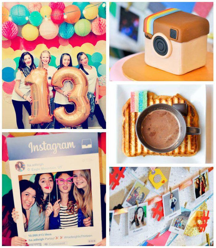 13th Birthday Party  Glam Instagram Themed 13th Birthday Party via Kara s Party