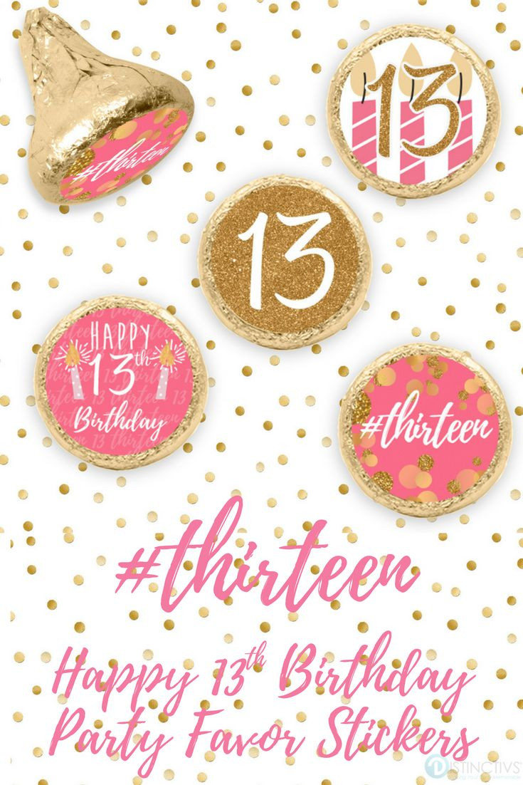 13th Birthday Party  Pink and Gold 13th Birthday Party Stickers 324 Count