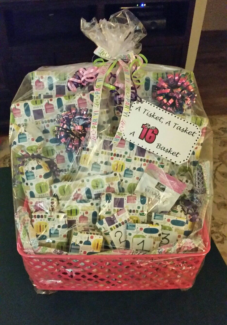 16Th Birthday Gift Ideas For Girls  A Tisket A Tasket A Sweet 16 Basket Filled with 16