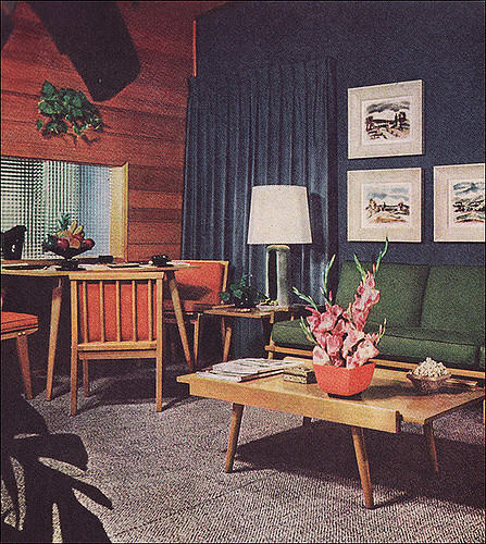 Best ideas about 1950S Living Room . Save or Pin 1950s Living Room with Camouflage Draperies Now.