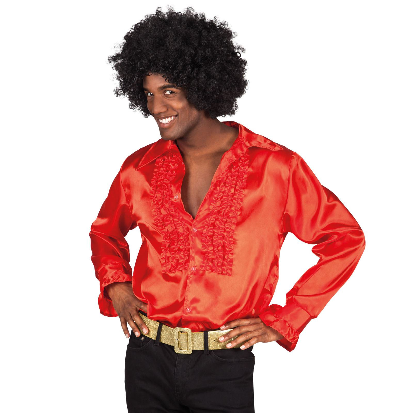 1970'S Mens Hairstyles  Deluxe Adult Mens 60s 1970 s Disco Fever Frilly Ruffle