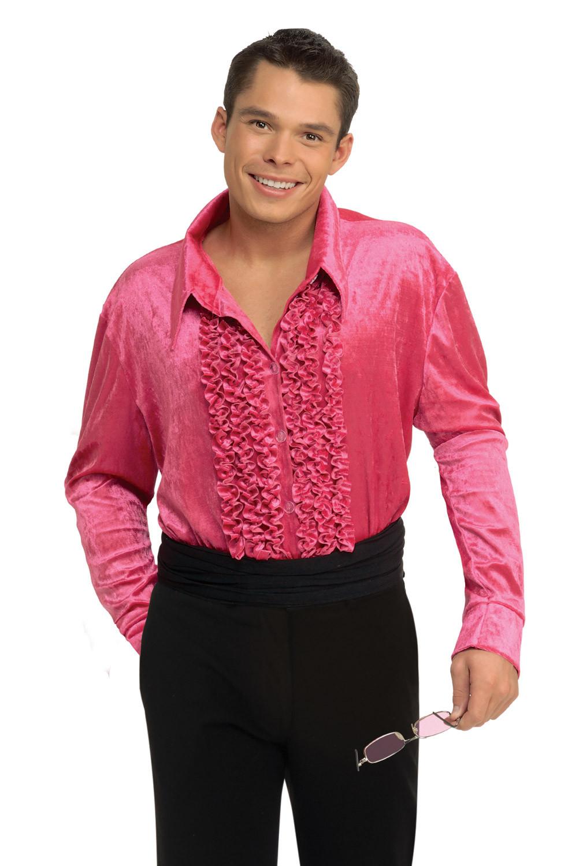 1970'S Mens Hairstyles  Velvet 1970 s Men Adult Disco Shirt Pink