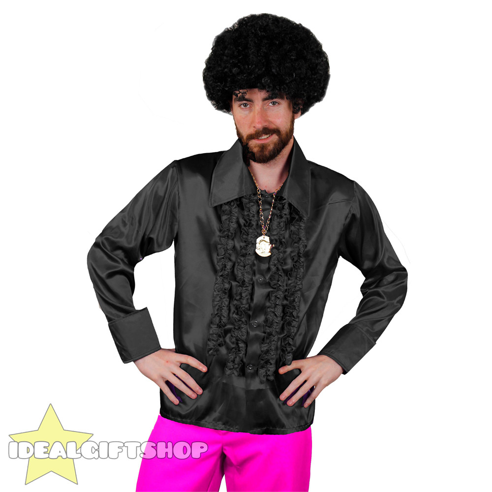 1970'S Mens Hairstyles  MENS 1970 S DISCO RUFFLE SHIRTS ADULTS FANCY DRESS COSTUME