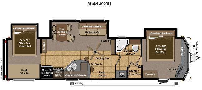 Best ideas about 2 Bedroom 5Th Wheel Floor Plans . Save or Pin Travel Trailers with 2 Bedrooms RV Style Now.