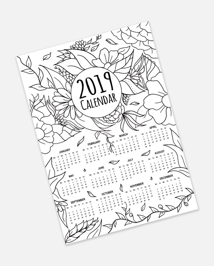 2019 Coloring Pages For Kids  FREE 2019 Calendar Adult Coloring Page Instant Digital