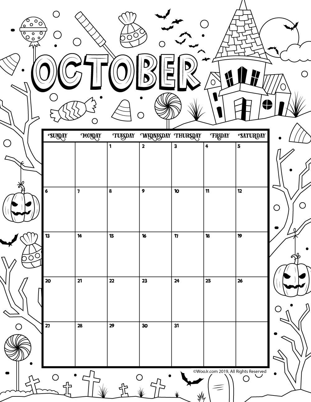 2019 Coloring Pages For Kids  October 2019 Coloring Calendar 2019