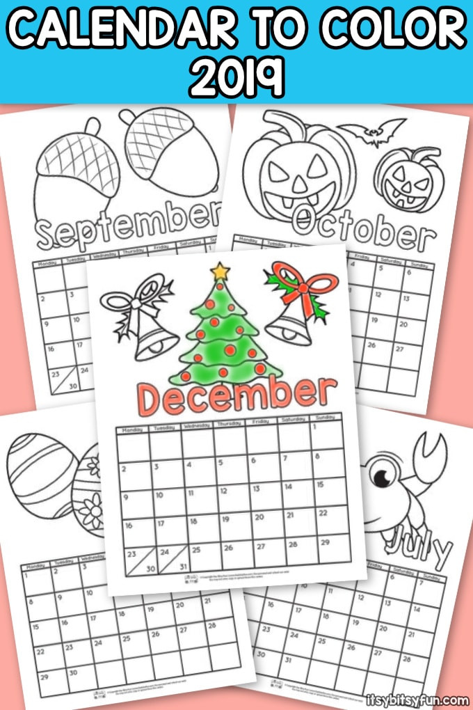 2019 Coloring Pages For Kids  Printable Calendar for Kids 2019 Itsy Bitsy Fun