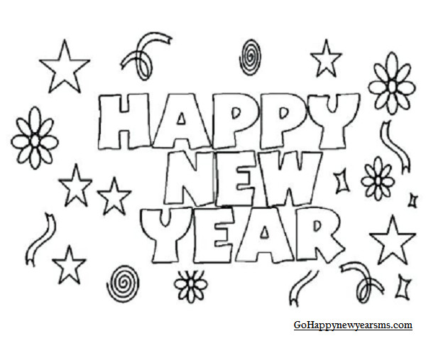2019 Coloring Pages For Kids  Happy New Year Coloring Pages Black & White Sheets 2019