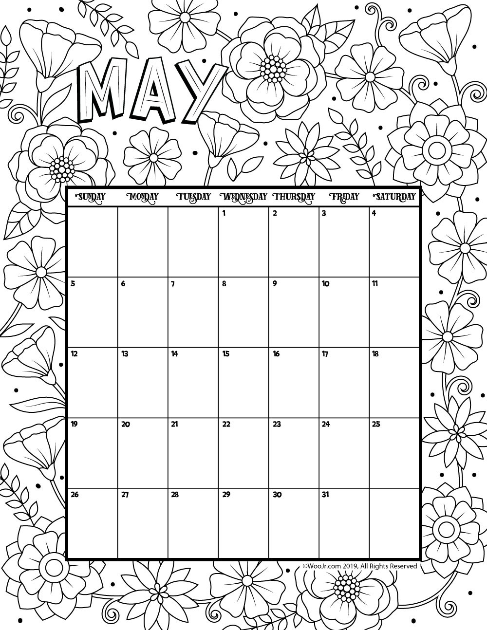 2019 Coloring Pages For Kids  May 2019 Coloring Calendar