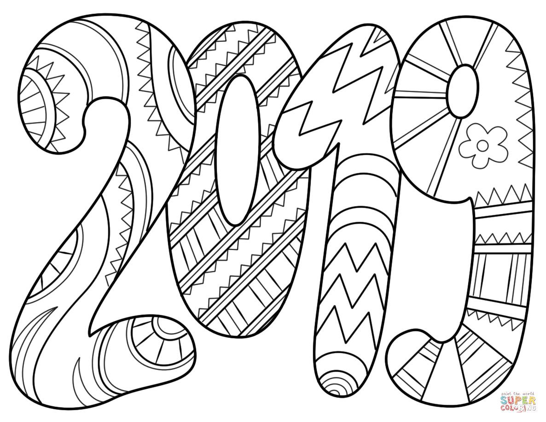 2019 Coloring Pages For Kids  Dibujo de 2019 para colorear