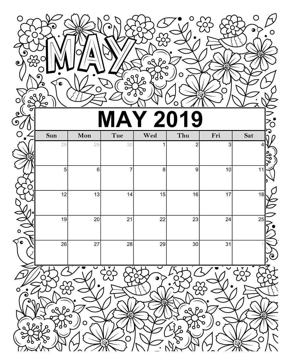 2019 Coloring Pages For Kids  Free 2019 Printable Coloring Calendar Pages