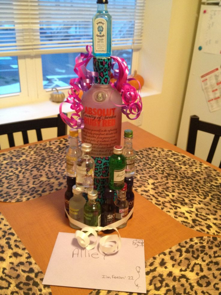 22Nd Birthday Gift Ideas  Alcohol Nipper cake for a friends birthday We did this