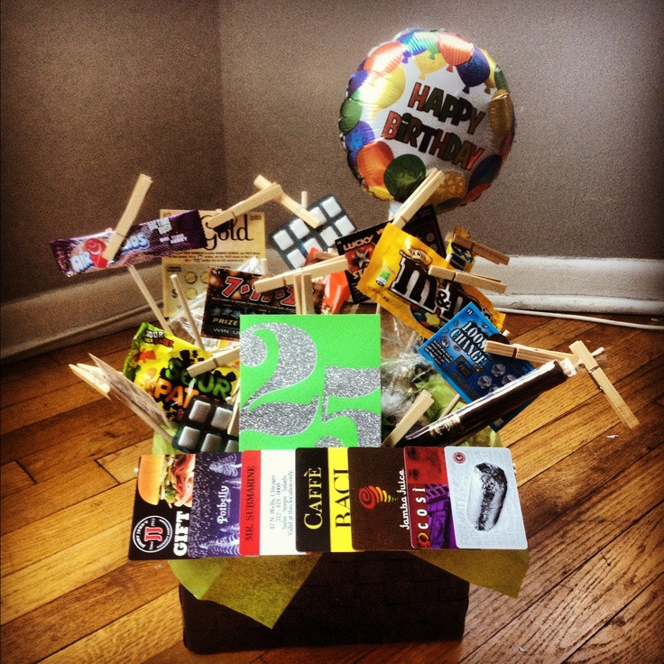 "25Th Birthday Gift Ideas  ""25 ts"" t basket I made for Kyle s 25th birthday"