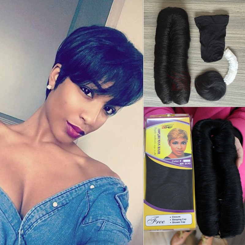 28 Piece Weave Short Hairstyles  Brazilian Straight Hair 4 inch Short Bump Weave 28 Pieces