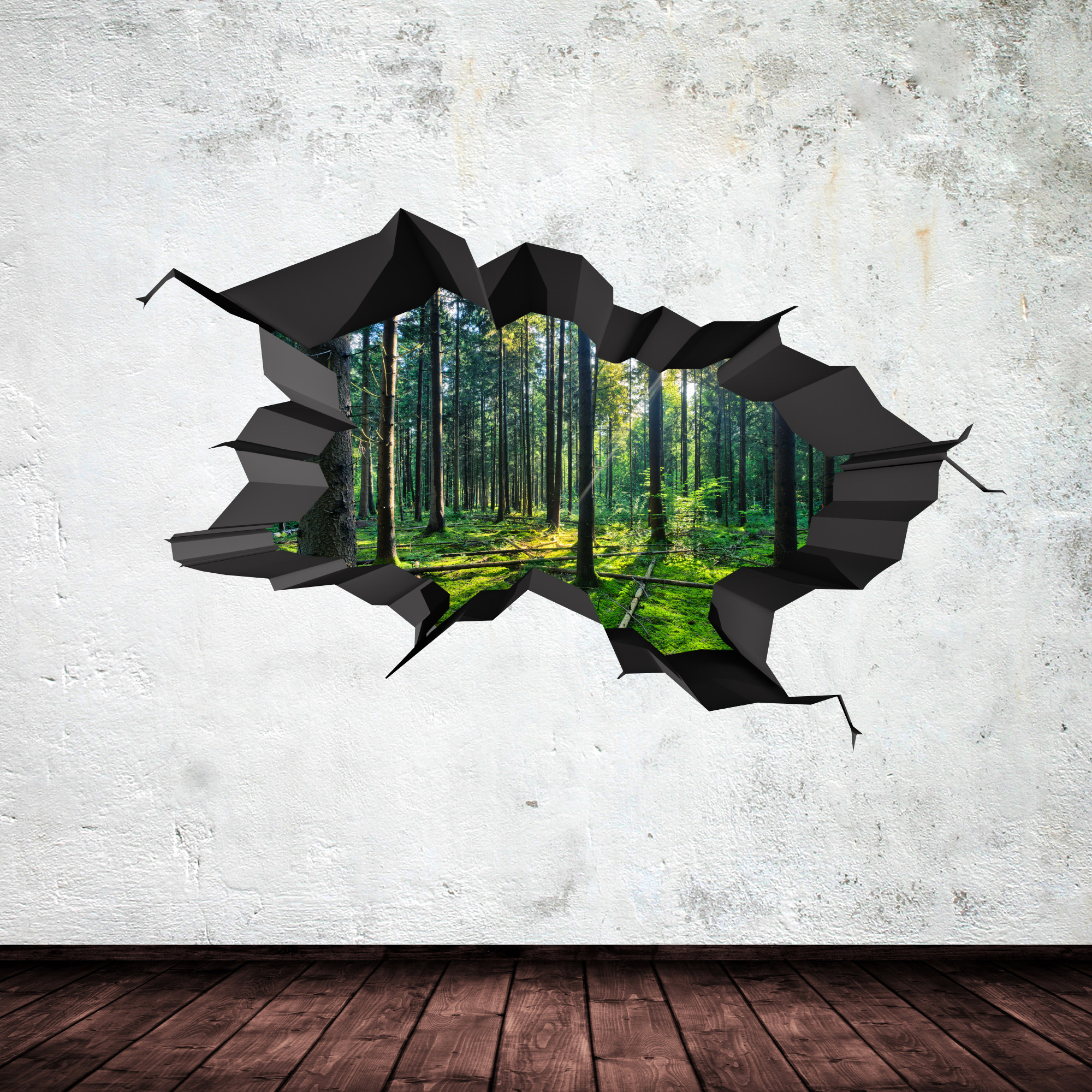 Best ideas about 3D Wall Art . Save or Pin FULL COLOUR WOODS FOREST TREES JUNGLE CRACKED 3D WALL ART Now.
