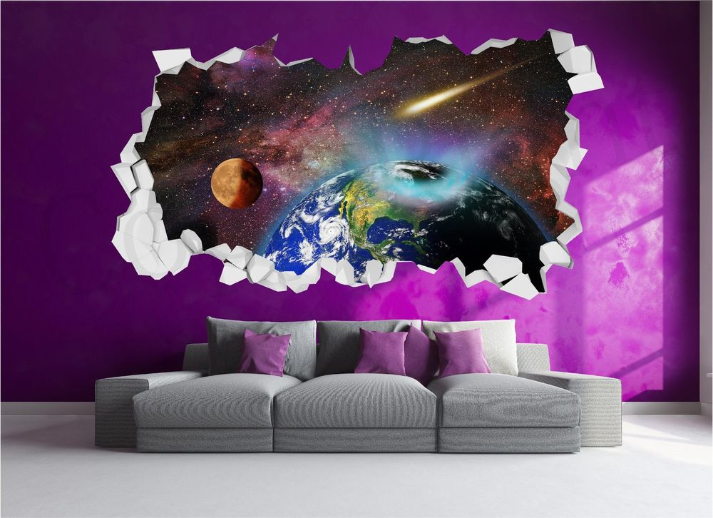 Best ideas about 3D Wall Art . Save or Pin Earth Space Planets Stars Brick Crumbled Wall 3D Wall Art Now.