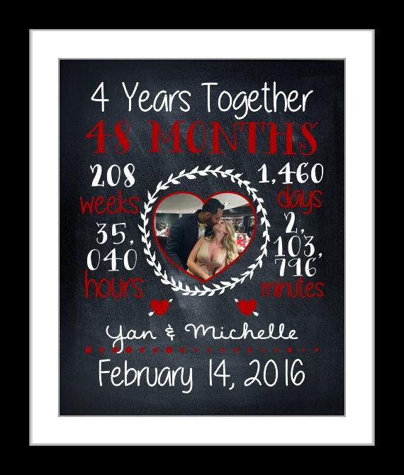 4 Year Anniversary Gift Ideas For Him  4 Year anniversary t anniversary t for her custom