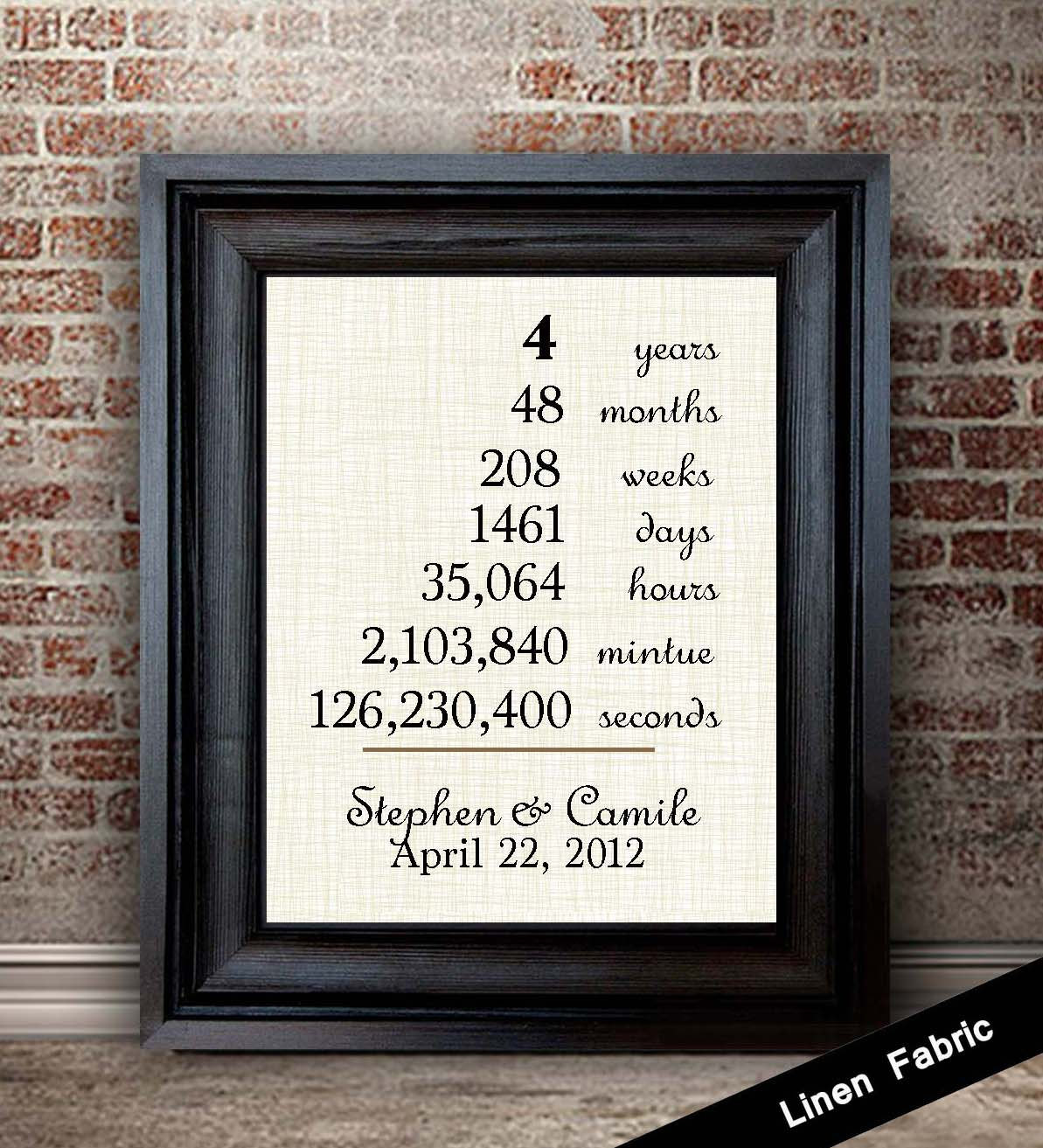 4 Year Anniversary Gift Ideas For Him  4th Anniversary Gift for Wife Linen Anniversary Gift 4