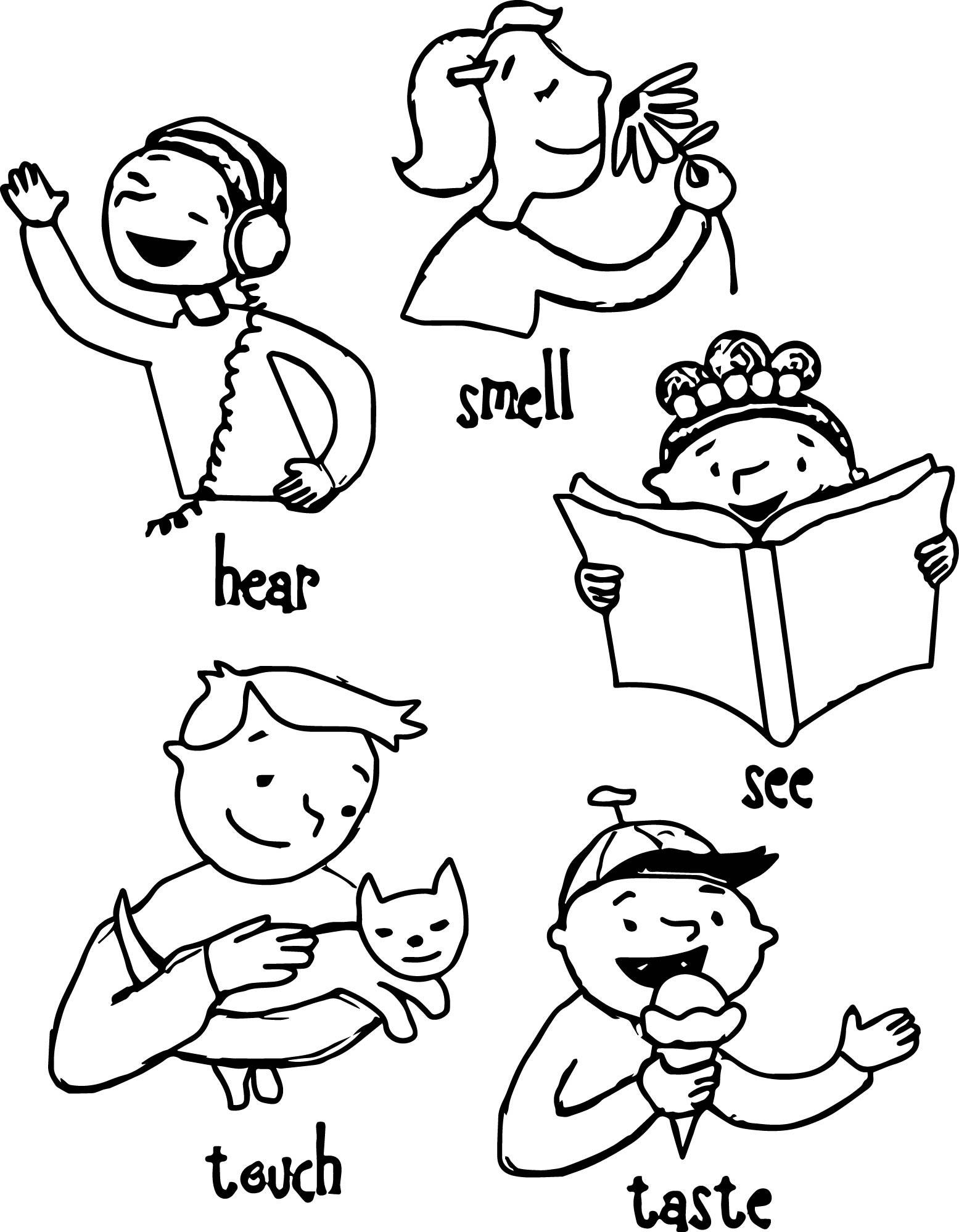 5 Senses Coloring Pages  Children 5 Senses Coloring Page