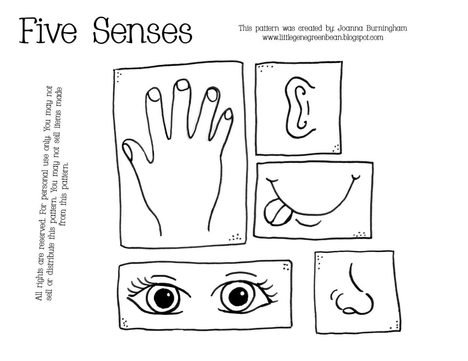 5 Senses Coloring Pages  Little Gene Green Bean All About Me Unit 2