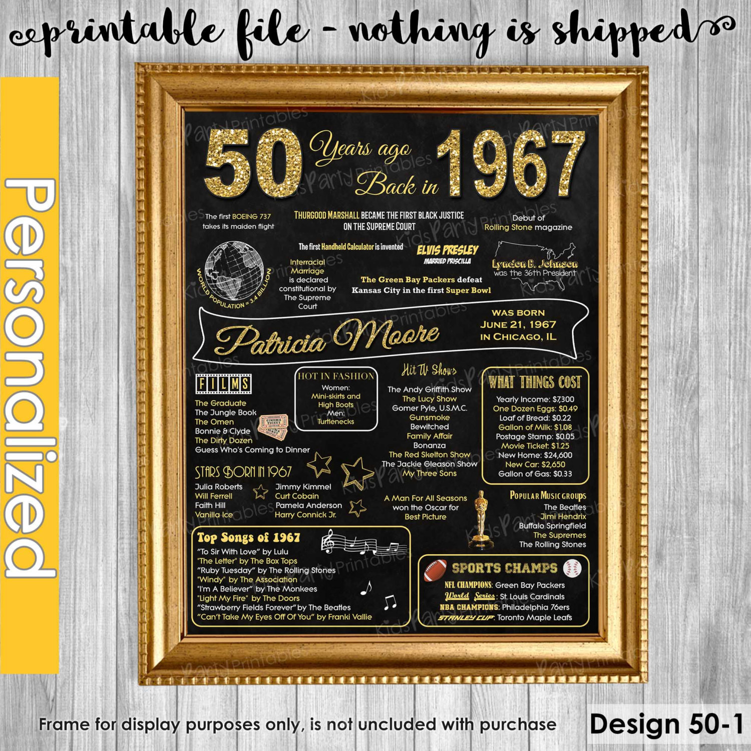 Best ideas about 50th Birthday Gifts For Men . Save or Pin 50th Birthday Gift for Women 50th Birthday Chalkboard 50th Now.