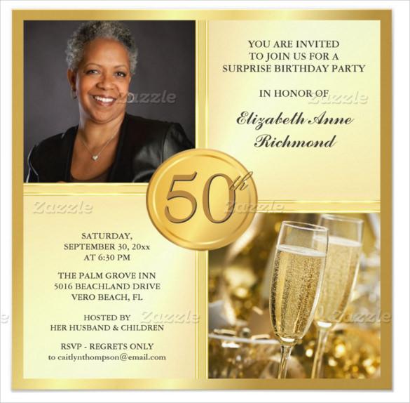 50th Birthday Invitations For Her  45 50th Birthday Invitation Templates – Free Sample