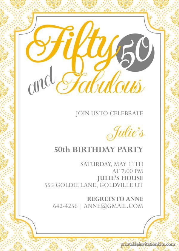 50th Birthday Invitations For Her  50th Birthday Invitation Templates Free Printable