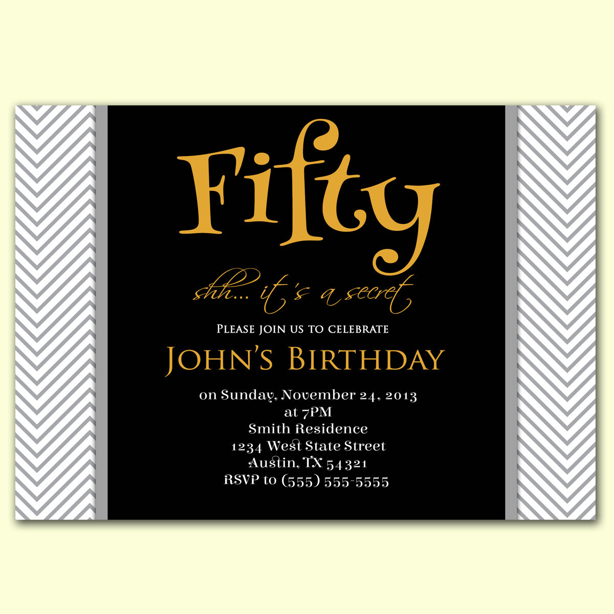 50th Birthday Invitations For Her  Masculine Invitation Surprise 50th Birthday by PurpleChicklet