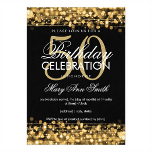 50th Birthday Invitations For Her  Birthday Invitation Templates in PDF