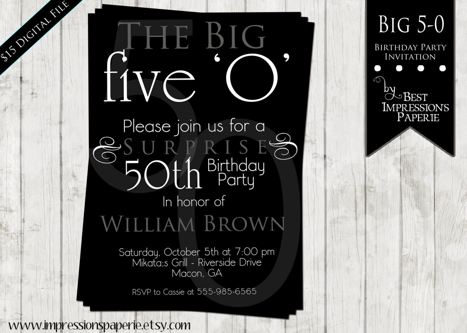 50th Birthday Invitations For Her  50th Birthday Party Invitations For Men