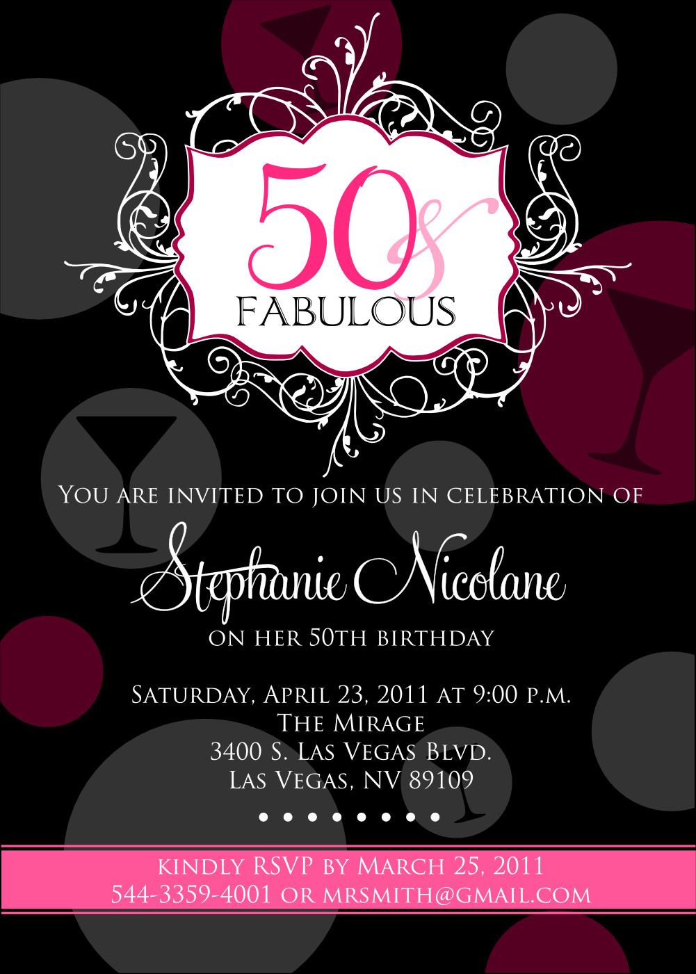 50th Birthday Invitations For Her  FREE Printable 50th Birthday Invitations for Women