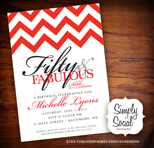 50th Birthday Invitations For Her  Surprise 50th Birthday Party Invitation with Chevron