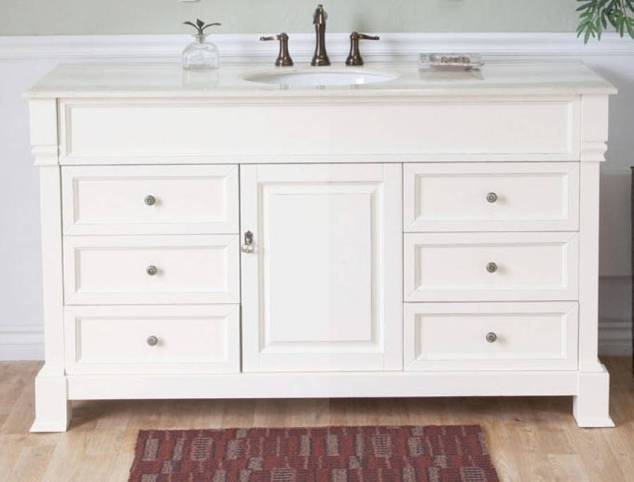 Best ideas about 60 Inch Bathroom Vanity Single Sink . Save or Pin 60 Inch Single Sink Bathroom Vanity in Cream White Now.