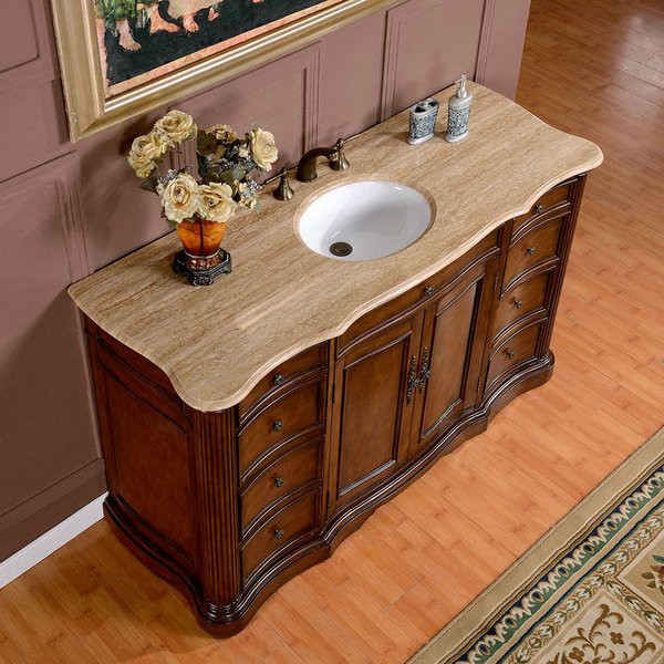 Best ideas about 60 Inch Bathroom Vanity Single Sink . Save or Pin Silkroad Exclusive 60 inch Travertine Stone Top Single Now.
