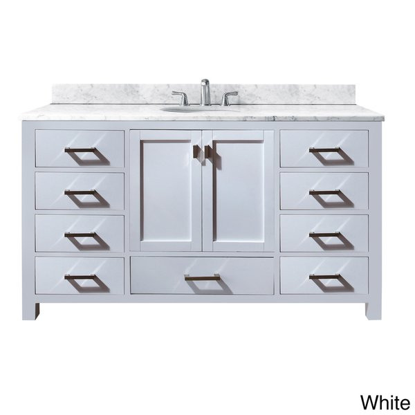 Best ideas about 60 Inch Bathroom Vanity Single Sink . Save or Pin Avanity Modero 60 inch Single Vanity in White Finish with Now.