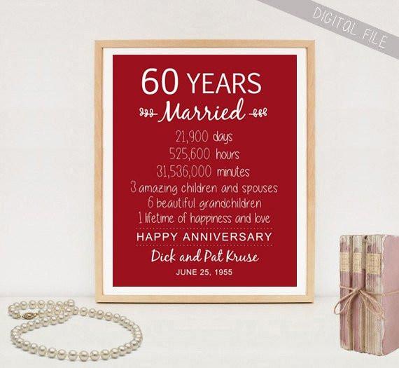 60 Wedding Anniversary Gift Ideas  60 years marriage poem