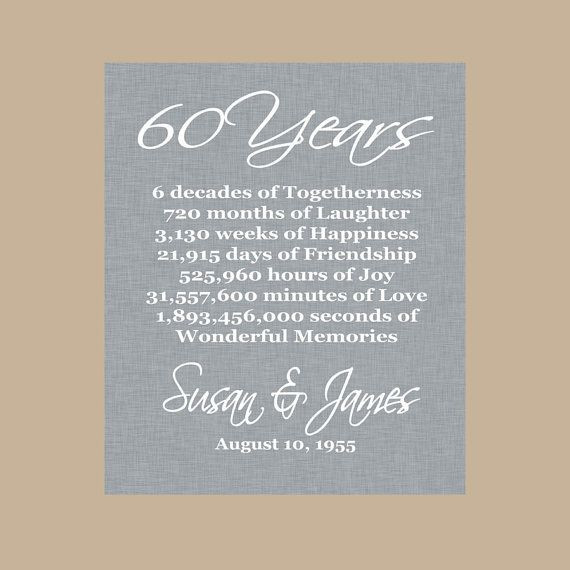 60 Wedding Anniversary Gift Ideas  25 best ideas about 60th Anniversary Gifts on Pinterest