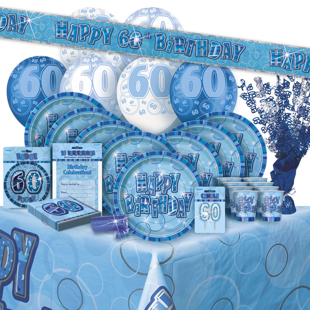 Best ideas about 60th Birthday Decor . Save or Pin AGE 60 60TH BIRTHDAY BLUE GLITZ PARTY RANGE Balloon Now.