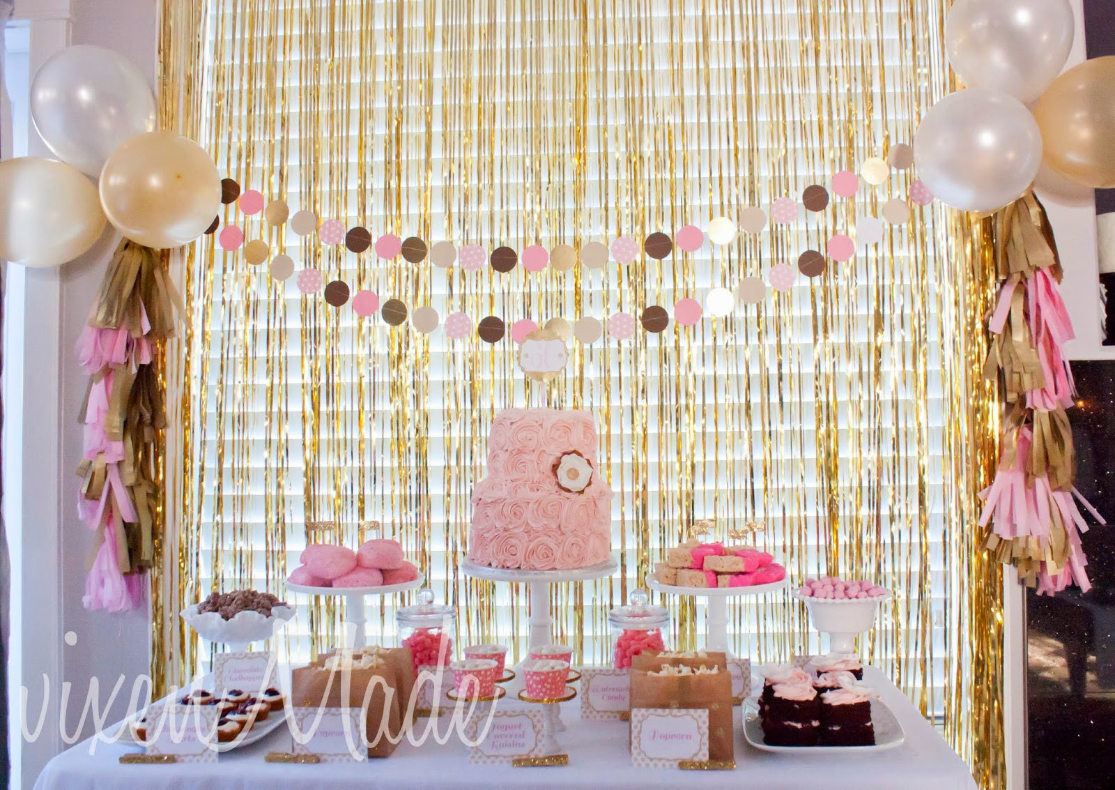 60th Birthday Decorations For Mom  Pink & Gold 60th Birthday Party vixenmade parties