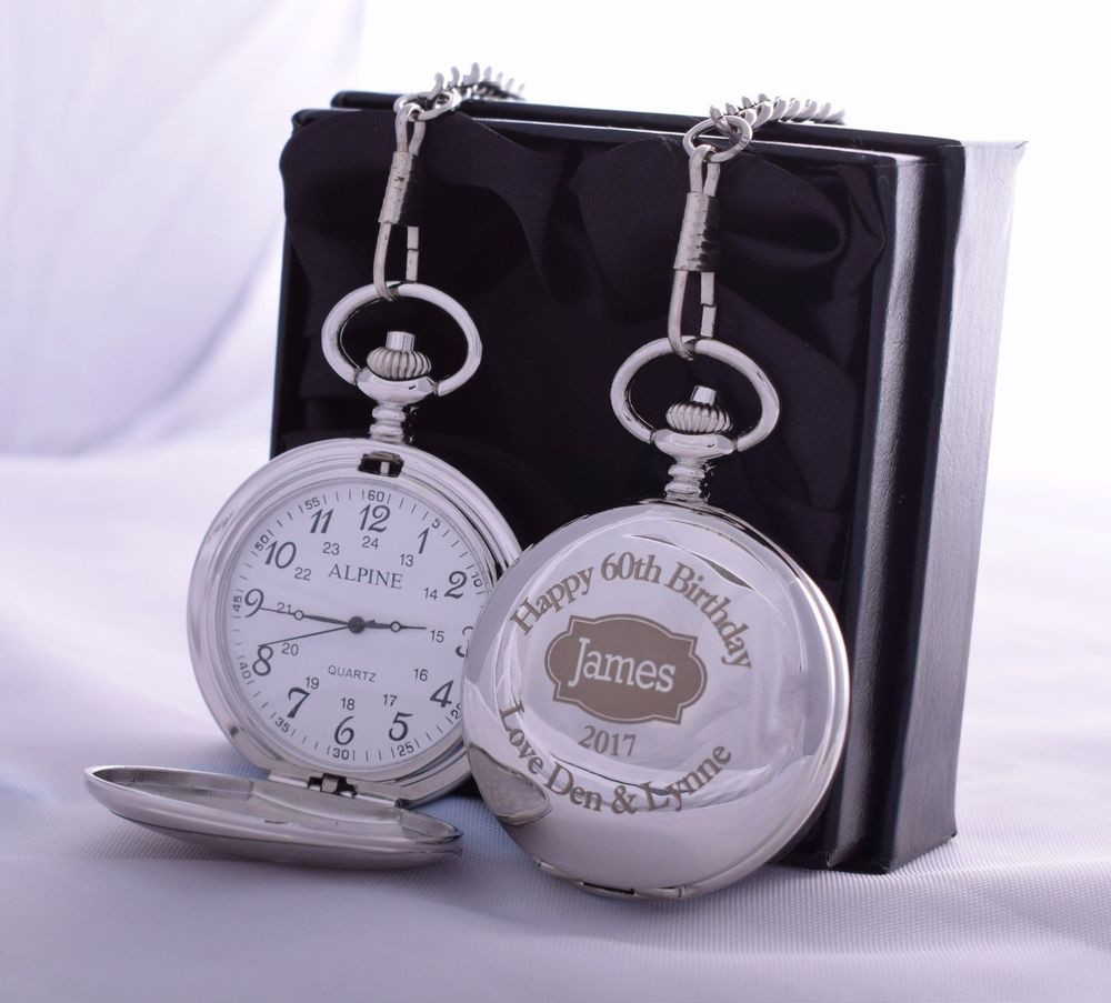 Best ideas about 65Th Birthday Gift Ideas For Dad . Save or Pin Personalised Pocket Watch SILK GIFT BOX 50th 60th 65th Now.